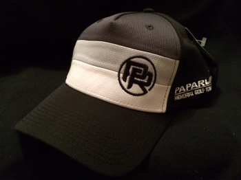 Papa Russi Hat Black with White and Gray Stripes