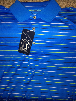 PGA Tour Golf Shirt.  Blue with green and white