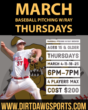 Baseball Pitching Ages 15 & Older w/Ray 6-7pm Mar