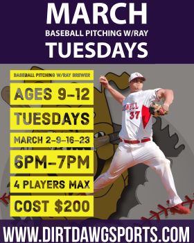 Baseball Pitching Ages 9-12 w/Ray 6-7pm Mar