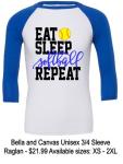 EAT SLEEP SOFTBALL REPEAT RAGLAN T