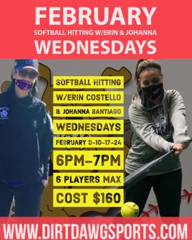 Wednesdays Softball Hitting W/Erin & Johanna Feb