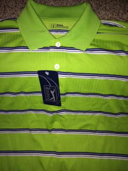 PGA Tour Golf Shirt.  Green with stripes
