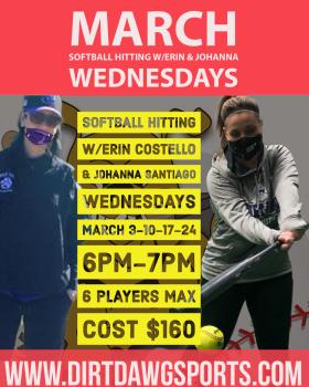 Wednesdays Softball Hitting W/Erin & Johanna Mar