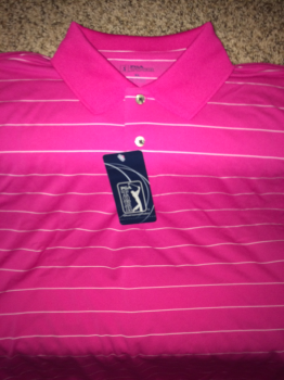 PGA Tour Golf Shirt.  Pink with stripes.
