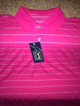 PGA Tour Golf Shirt.  Pink with stripes.