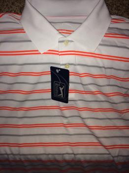 PGA Tour Golf Shirt.  White with Orange and Gray