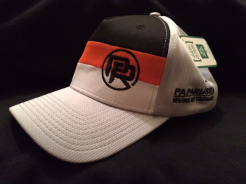 Papa Russi Hat White with Orange and Black stipes