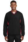 Men's V-Neck Pullover Windshirt Black w/ Red Trim