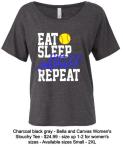 EAT SLEEP SOFTBALL REPEAT SLOUCHY T