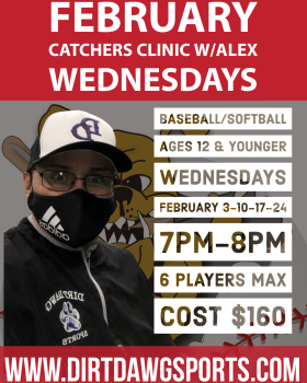 Catchers Baseball/Softball Clinic w/Alex 7-8pm Feb
