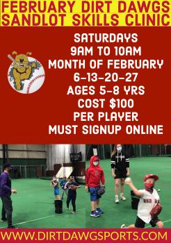 February Sandlot Skills Ages 5-8 years Saturday