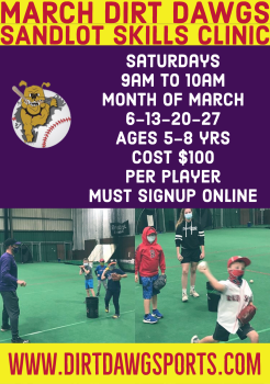 March Sandlot Skills Ages 5-8 years Saturday