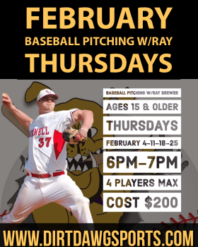 Baseball Pitching Ages 15 & Older w/Ray 6-7pm Feb