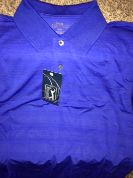 PGA Tour Golf Shirt.  Royal Blue with Pattern