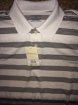 Tehama Golf Shirt, White with Black Stripes