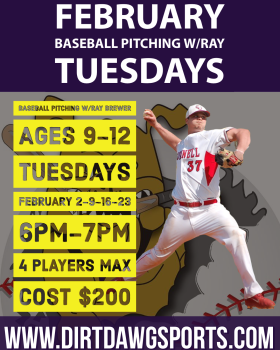 Baseball Pitching Ages 9-12 w/Ray 6-7pm Feb